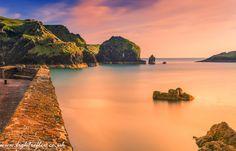 Mullion Cove sunset, Cornwall, England