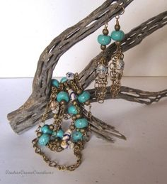 Day of the Dead Turquoise Magnesite , Vintage Brass Chain Necklace Set
