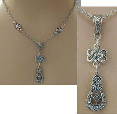 Silver Celtic Knot Pendant Necklace Handmade Adjustable Fashion  #Handmade http://www.ebay.com/itm/161732125516?ssPageName=STRK:MESELX:IT&_trksid=p3984.m1555.l2649