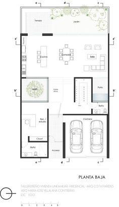 Minimalist Architecture, Modern Architecture House, Architecture Plan, Modern House Plans, Small House Plans, House Floor Plans, Japan House Design, Small Villa, Craftsman Floor Plans