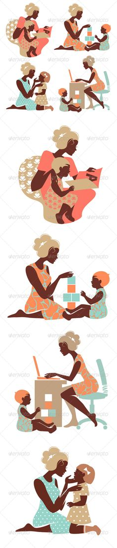 Set of Mother and Baby Silhouettes #GraphicRiver Elements for design of Happy Mo