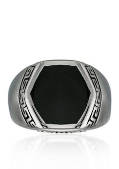 Belk  Co. Silver Mens Stainless Steel and Black Resin Ring