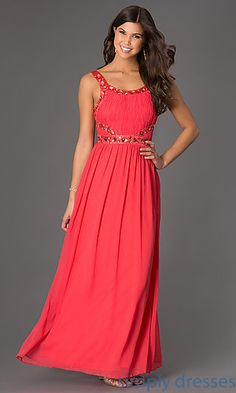 Sleeveless Floor Length Jewel Embellished Dress at SimplyDresses.com