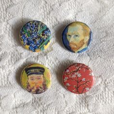 Vincent van Gogh pins // Set of four pinback by nostalgichearts