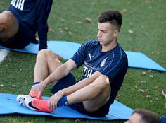 Stephan El Shaarawy of Italy looks on during a training session at Italy club's training ground at Coverciano on October 2, 2017 in Florence, Italy.