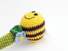 crochet baby rattle - bee and flower