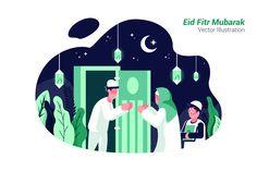EidFitr Mubarak -Vector Illustration by AQR Studio on Web Design, Creative Design, Flat Design, Flat Illustration, Graphic Design Illustration, Illustrations, Eid Mubarak Wallpaper, Eid Mubarak Vector, Islamic Cartoon