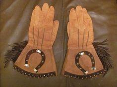 Vintage Antique Cowboy Cowgirl Gauntlet Gloves Leather Cuffs