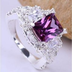 Add to Cart  Product Description  This is an elegant size 8 Purple Amethyst Diamond Silver Ring. The stones are of the highest quality and have been graded AAA clear czech crytal. You will be very pleased with the top notch quality & workmanship on this ring.     Brand New and Good quality go with a gift box.     Stone size: 7*9    Thanks for your interest.
