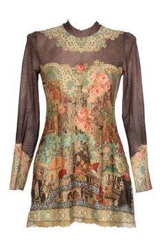 Michal Negrin Mandarin Collar, Long Sleeves Tunic Dress Decorated with Victorian Style Pattern, Swarovski Crystals and Lace Trim Edge