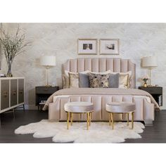 High Fashion Home is the premier destination for unique home furnishings, fashion, and gifts. Contemporary furniture for the eclectic, modern lifestyle. Master Bedroom Design, Home Decor Bedroom, Modern Bedroom, Gray Gold Bedroom, Bedroom Decor Elegant, Gold Bedroom Accents, Cream And Gold Bedroom, Classy Bedroom Ideas, Luxury Master Bedroom