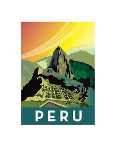 8 x 10 Peru Machu Picchu digital print, retro style illustration