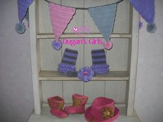Crochet by Dugan's Girls  {Crochet garland, ruffled leggins & flower headband, boot scoot'n boots & cowboy hat}