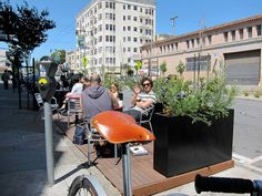 The parklet in front of Mojo Bicycle Cafe. Green Zone, Bryant Park, Urban Setting, North Beach, Street Furniture, Bicycle Cafe, San Francisco, Public, Relax