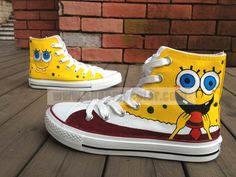 SpongeBob High Top Canvas Shoes for Kids/Adults Hand Painted Cartoon Shoes