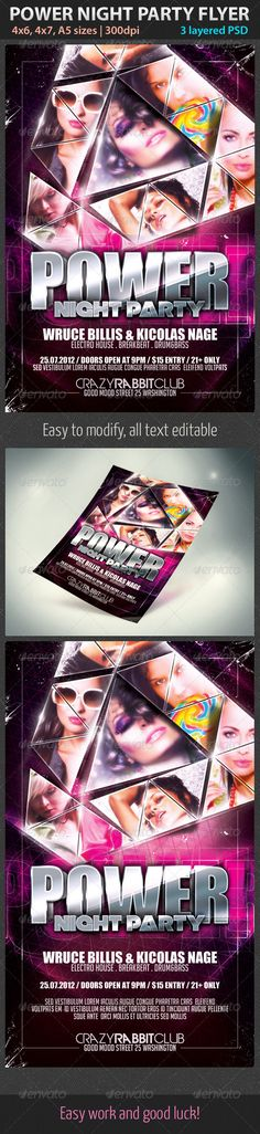 power night party flyer graphicriver the psd files is setup at 46