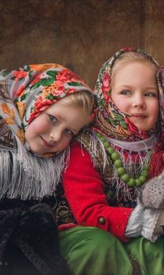 Russian girls in traditional shawls #kids
