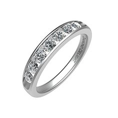 IGI Certified White Gold 7 Stone Channel Set Wedding/Anniversary Diamond Band Ring Carat ) *** Visit the image link more details. Wedding Anniversary Rings, Diamond Anniversary, Wedding Rings, Ring Enhancer, Beautiful Diamond Rings, 2 Carat, Engagement Jewelry, Eternity Ring, Band Rings