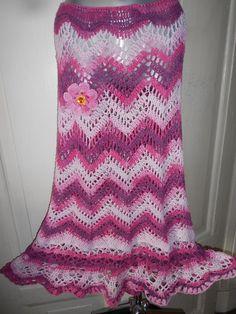 Сrochet Skirt Gypsy Skirt ZigZag Skirt Cotton por idafrompushkin