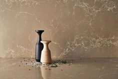 Caesarstone's Tuscan Dawn quartz surface used as a countertop and wall panel