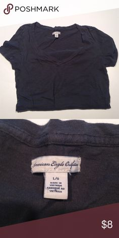 AEO Vneck Dark gray/black V-neck. Like new American Eagle Outfitters Tops Tees - Short Sleeve