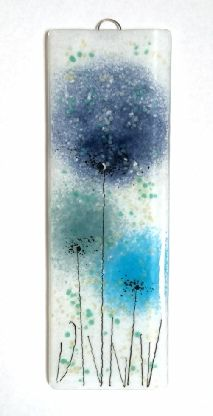 Blue flowers fused glass wall art panel handmade glass art by Fired Creations