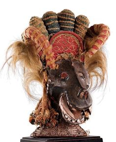 Africa | Headdress from the Ekoi or Boki people of Nigeria; | These types of masks are used during funeral ceremonies of the Ekpe society, within the Cross River region.