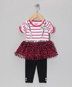 Pink Faux Suspender Tunic & Black Leggings - Girls