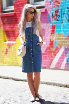London Shoreditch style wearing Missguided Denim Pinafore, Pimkie White Blouse, Ray Ban Clubmasters Sunglasses, Chloe Arctic Drew, Nicholas Kirkwood Silver Gold Slippers and an Olivia Burton Cream Watch with my white hair