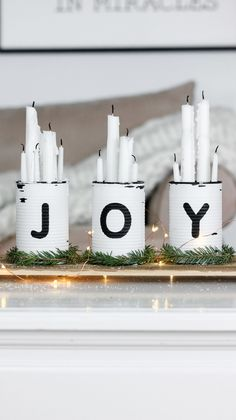 Last Minute Rustic Christmas Centerpiece check this one out! Takes only 30 minutes to make and involves upcycling tin cans with the words JOY on them! Christmas Love, Rustic Christmas, Winter Christmas, Christmas Ornaments, Primitive Christmas, Scandinavian Christmas, Christmas Christmas, Centerpiece Christmas, Xmas Decorations