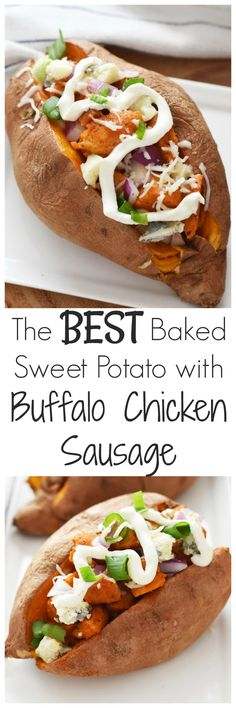 The Best Baked Sweet Potato with Buffalo Chicken Sausage- The Best Baked Sweet Potato with Buffalo Chicken Sausage- We have lighten up the classic flavors of Buffalo chicken & added them into a sweet potato. Dressed with green onion, non fat Greek yogurt, a light sprinkling of cheese, & a hint of fresh Gorgonzola, this is one stuffed potato you do not want to miss!! #eatalfresco AD via @savvysavingcoup