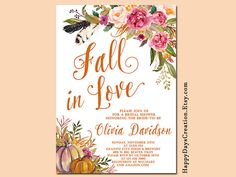 Fall in Love Autumn Bridal Shower Invitation, Boho, Tribal, Rustic, Pumpkin…