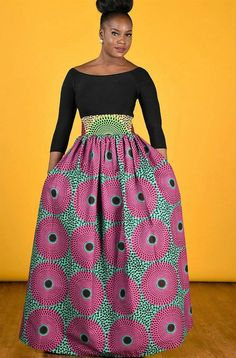 Most loved bold African print maxi skirt features 4 constrast waistband  45 skirt lenght, gathered waistline. 2 side pockets Colors : pink/ green 100%