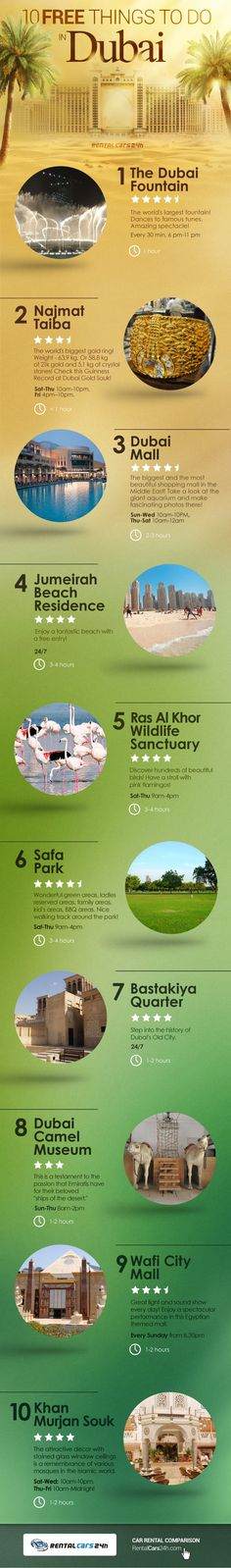 10 FREE Things To Do In Dubai [by RentalCars24H -- via #tipsographic]. More at tipsographic.com