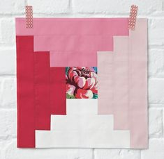 Amy Butler Hapi Four Way Log Cabin block pattern with ombre fabric effect FREE on the blog. Plus find lots more FREE with issue 4 of Love Patchwork & Quilting