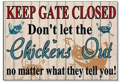 Funny Warning Keep Gate Closed for Chickens Sign Plaque Outdoor Gift Garden Coop Chicken Coop Signs, Chicken Coup, Chicken Lady, Chicken Roost, Chicken Pen, Chicken Crafts, Chicken Ideas, Pet Chickens, Chickens Backyard