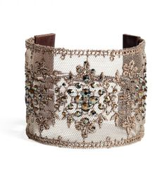 Chan Luu Bronze Shade Lace Cuff - Metallic Crystal Cuff - I wonder if I could make something like this? Chan Luu, Jewelry Accessories, Fashion Accessories, Jewelry Design, Lace Cuffs, Cuff Bracelets, Lace Bracelet, Bangles, Swarovski Crystals