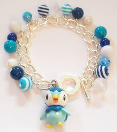 Pokemon Piplup Figure Charm Bracelet  Kawaii  by cwocwodesigns, £9.99 - Gamer - Anime - Starter Pokemon - Water Type - Geeky - Nerdy