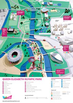 I was commissioned by the London Legacy Development Corporation (LLDC) and Premm Design to create a fun but functional map for the Queen Elizabeth Olympic Park in celebration of its Spring 2014 opening. My job was to re-create all of the park's major fe… Theme Park Map, Experience Map, Isometric Map, Village Map, Map Design, Graphic Design, City Illustration, Information Design, Parking Design