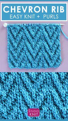 Rib Stitch Knitting, Knitting Stiches, Knitting Kits, Knitting Charts, Rib Knit, Knit Purl Stitches, Beginners Knitting Kit, Easy Knitting Projects, Easy Knitting Patterns