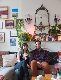 Outside of work the two pursue their own creative endeavors, which is reflected in their living space. Courtney makes collage art and sculpture, while Jeff makes music. They also feature a ton of their friends' and local artists' art.