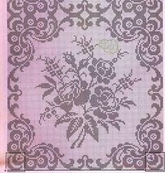 Crochet Edgings Design Kira crochet: Crocheted scheme no. Filet Crochet Charts, Crochet Borders, Crochet Cross, Crochet Motif, Crochet Stitches, Crochet Patterns, Crochet Edgings, Cross Stitch Rose, Cross Stitch Flowers