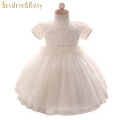Sunshine Rainy White Baby Girls Wedding Dress Embroidery Flower Girl Tutu Dress Princess Style Kids Birthday Party Costume
