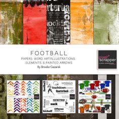 Football Bundle by Brooke Gazarek   Pixel Scrapper digital scrapbooking