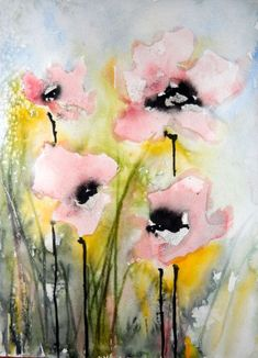 "Saatchi Online Artist: Karin Johannesson; Watercolor, 2013, Painting ""Pink Poppies IV"""