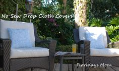 Recover Old Patio Cushions With Drop Clothes