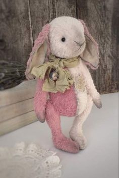 """bunny """"Ainy"""" By Alena Krahmaleva - The teddy bany ooak sewed from viscose of Italy-France,completely manually. In a toy of woodwool and glass granules. His paws and the head are mobile because of special fastening. Eyes are made of glass.Bunny decorated with embroidery and vintage ribbon with bubenchikom. Pleas, know that i..."""