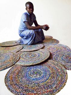 Recycled plastic mats, Ghana #upcycle