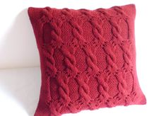 Burgundy Red Knit Pillow Cover, Throw Pillow, Merlot Cable Knit Pillow Case, Hand Knit Pillow Cover, 16x16 Decorative Couch Pillow by Adorablewares on Etsy