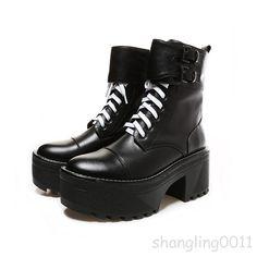 Punk Women's Lace Up Ankle Boots High Top Platform Buckle Leather Shoes Platform Ankle Shoes, Platform Ankle Boots, Lace Up Ankle Boots, Leather High Tops, Leather And Lace, Leather Shoes, Platform Creepers, Platform Block Heels, Punk Shoes